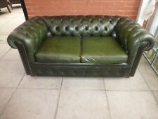 A Large Green  Leather Chesterfield Two Seater Sofa Settee