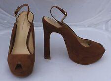 Zara Basic Brown Faux Suede Platform Sandals Size 3/36