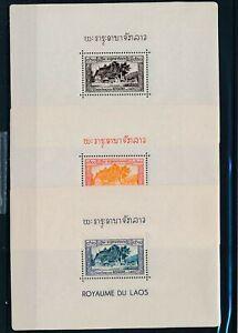 [G42994] Laos 1952 3 good sheets Very Fine MNH