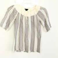 Theory Women's Ivory Stripe Cotton Top Short Sleeve size S BXK