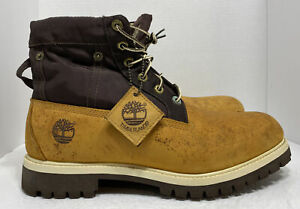 Timberland Mens Premium Boots Roll Top Size 12 Brown Wheat Nubuck 89094