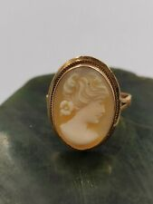 OLD VICTORIAN LADY CAMEO 750/18K YELLOW GOLD RING