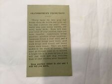 """Vintage 1930 Fortune Telling Arcade Machine Card """"Grandmother's Predictions"""""""