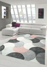 Designer and modern rug short pile with drops pattern in pink gray beige