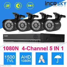 4CH 1080N HDMI DVR 1500TVL Outdoor CCTV Night Video Camera Home Security System
