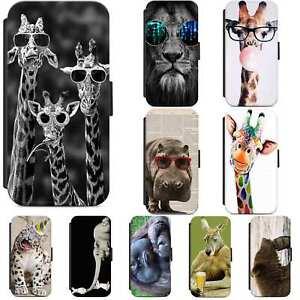 Animal Giraffe Elephant Lion Flip Phone Case Wallet Cover For Samsung A5 A10 A12