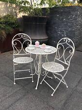 Mia 3 Piece Patio Setting Metal Garden Furniture Outdoor Home Deco Antique Cream