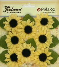 SUNFLOWERS Canvas YELLOW with Black Cntr 9 per Pk - 30 to 35mm Petaloo PetA