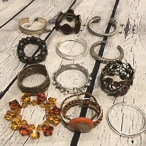Vtg Estate Lot Costume Jewelry Bracelets cuff Bangles Beads Stretch Silver