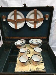 Vtg  Picnic Basket Travel Chest 1930's with Porcelain bowls cups plates Sweden