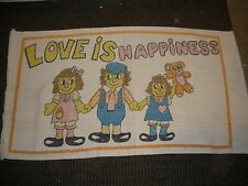 "vintage rug carpet Love is Happiness Raggedy Ann Andy 42"" X 23"""