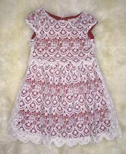 Nwt Zara Girls White Red Guipure Lace Shift Dress Size 7 Years