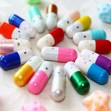 50X Message in a Bottle Capsule Letter Cute Love Friendship Half Color Pills Esu