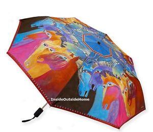 Laurel Burch Compact Umbrella Horses Fire Auto Open Close Lg Canopy NEW LASTones