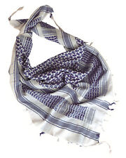 White Blue Tactical Arab Shemagh Scarf 100% Cotton