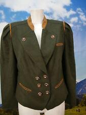 Lodenfrey kurz grün Loden Janker Leder Besatz Dirndljacke tailliert Blazer Gr.38