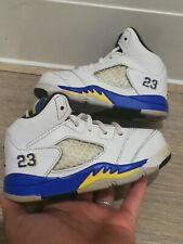 Nike Air Jordan 5 Retro PS 'Laney' Azul Blanco Amarillo Bebé UK 4.5 nos entrenadores 5C
