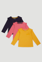 EX Nutmeg Girls Frilly Long Sleeve Tops 3 PACK Baby Toddler Mustard Pink Casual