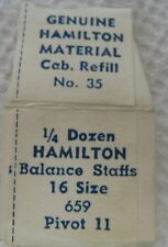HAMILTON BALANCE STAFFS 16 SIZE # 659   PIVOT 11   NOS