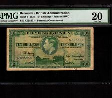 Bermuda 10 Shillings 1937 P-9 * PMG VF 20 * Very Rare in Green * King George *