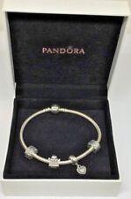 Pandora Charm Silver Bracelet w/ 4 Charms Dangle Heart, Angel & 2 Clip On Beads