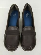 WOMENS EASY SPIRIT COMFORT CLOGS BROWN LEATHER  WORK SHOES SIZE  10M