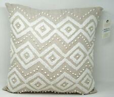 "Lucky Brand Diamond 100% Linen Hand Embroidered 17"" Decorative Pillow - Beige"