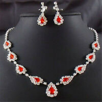Party TearDrop Red Ruby Austrian Crystal  Stud Earrings Necklace Sets