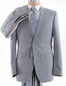 Canali NWT Suit Size 38R In Light Gray / Blue With Gray Pinstripes Wool $1,895
