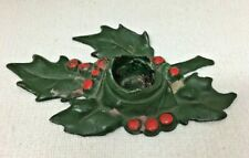 Antique Cast Iron Christmas Holly & Berry Candleholder T74
