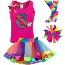 6th Birthday Girl Shirt Rainbow Unicorn Tutu Outfit Personalized 6