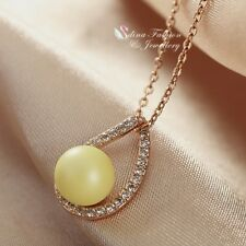 18K Rose Gold Filled Simulated Pearl & Diamond Yellow Teardrop Necklace