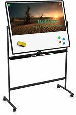48x36 Dry Erase Board With Standdouble Sided Magnetic Rolling Whiteboard With