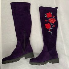 New Deerberg Women's Shoes Knee Boots Purple Red Suede Leather EUR 37 US 6 UK 4