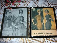 Vintage Sewing Room Decor Framed Ladies Pattern Book Pages Antique Shabby Look