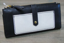 NEW Fossil LEATHER WALLET Keely Tab Black & White Zip Snap Clutch Purse NWOT