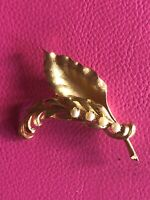 Vintage Brooks Gold Tone Faux Pearl Frosted Leaf Leaves Brooch Pin Jewelry