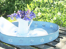 SHABBY FRENCH COUNTRY ANTIQUE VINTAGE  DAISY OVAL METAL TRAY WEDDING  GARDEN