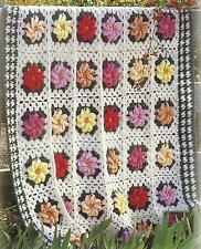 "Crochet Blanket/Afghan Pattern ""Lush Delights"" with flowers DK   166"