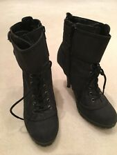 LADIES HIGH HEEL BLACK FABRIC ANKLE BOOTS BY F&F - SIZE UK 5