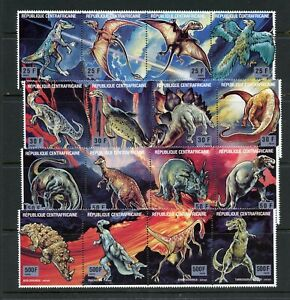 Y987  Central Africa  1993  Dinosaurs   FOLDED-ONCE strips     MNH