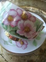 VTG CHERRYCO Japanese Hand Painted Floral Tea Cup & Saucer. Delicate. EUC.