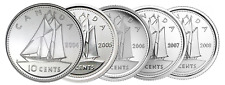 🇨🇦 Canada Dime 10 cents - 5 coins together, 2004-2008