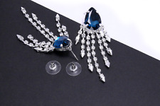 Diamante Dangle Earrings Pearl Drop Stud Women Silver Crystal Fashion Pair