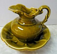 Vintage McCoy Pitcher And Bowl Olive Green