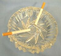 Vintage Ashtray Heavy Weight Cut Glass Crystal Clear Cigarette Ash Tray Perfect