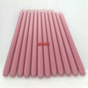 Pack Of 12 Dark Pink Tall Tapered Dinner Candles Non Drip