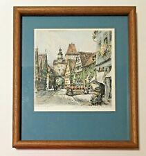 "Framed Paul Geissler Original Pencil-Signed Etching, ""Rothenburg OJ"", 1920 EUC"
