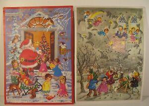 3 Vintage Christmas Advent Calendar 1950s Kruger Santa Glitter Waterwheel Mill