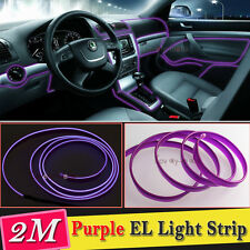 2M Purple EL Wire Car Interior Decor Fluorescent Neon Cold Strip light Fit Dodge